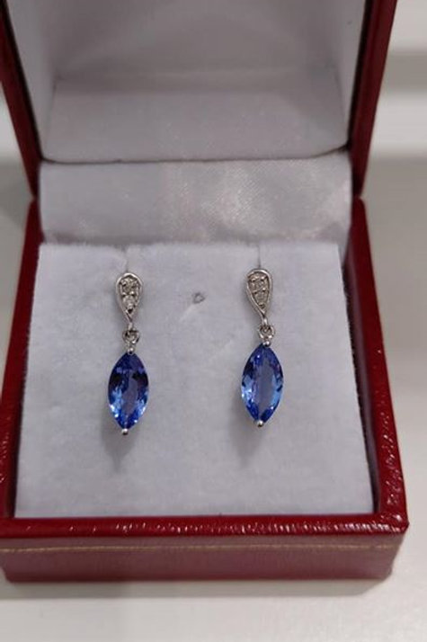 Tanzanite and Diamond 9k White Gold Marquise cut earrings