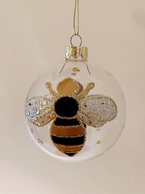 Gisela Graham Bumble Bee Glass Bauble 8 cm