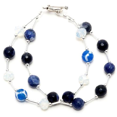 "Ronin Gemstone 7.5"" Bracelet Sailboat Sodalite & Agate"