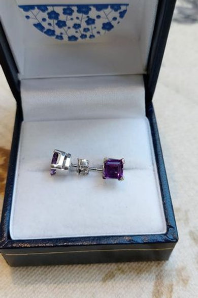Amethyst square cut prong set stud earrings in Sterling Silver