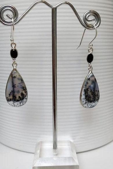 Merlinite Dendritic Opal & Black Onyx Sterling Silver Drop Earrings