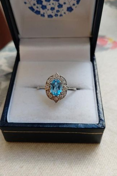 Blue Topaz & White Zircon Dainty Stering Silver ring.