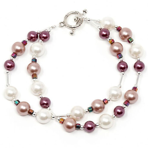 """Ronin Gemstone 8"""" Bracelet Orchid Pearl Beads and Haematite"""