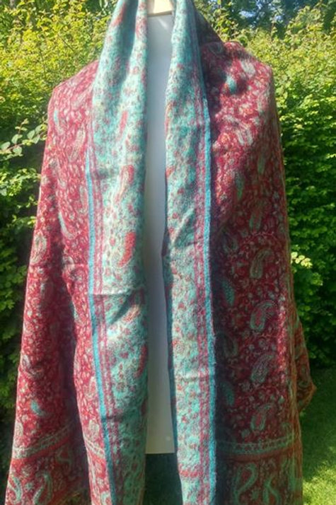 Fairtrade Reversible Nepal Shawl - Pinky Reds and Pale Blues