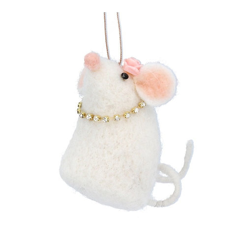 Gisela Graham Wool Mix Mouse with Faux Diamond Necklace