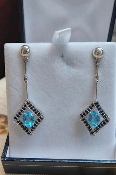 Blue Topaz and Sapphire drop earrings in Sterling Silver