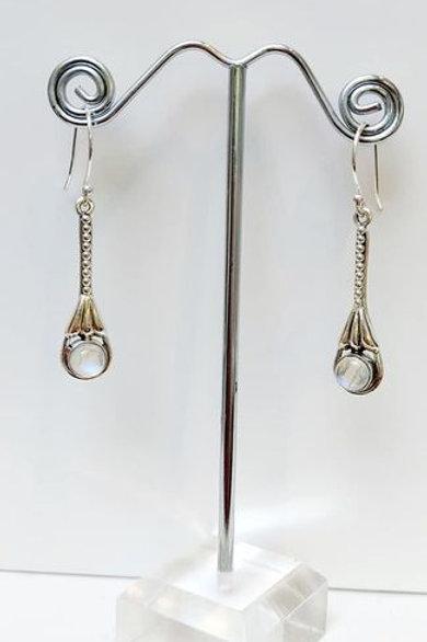 Indian Rainbow Moonstone Sterling Silver Drop Earrings