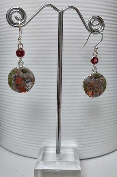 Copper Agate & Garnet Sterling Silver Drop Earrings