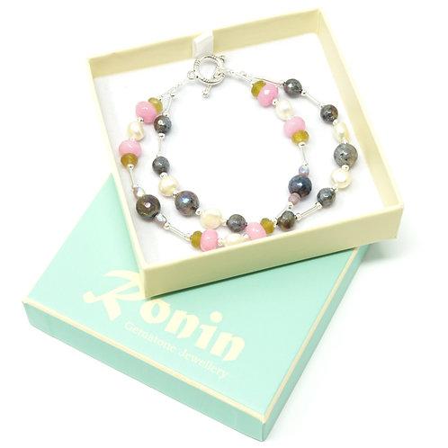 "Ronin Gemstone 7.5"" Bracelet Juniper with Pearls, Labradorite, Jade"
