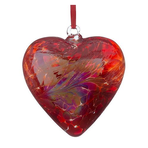 Red Sienna Glass Friendship Glass Heart 12 cm with Gift Box