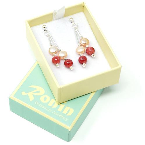 Ronin Gemstone Drop Earrings with Jade and Freshwater Pearls