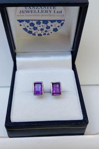 Amethyst rectangle cut bezel set stud earrings in Sterling Silver