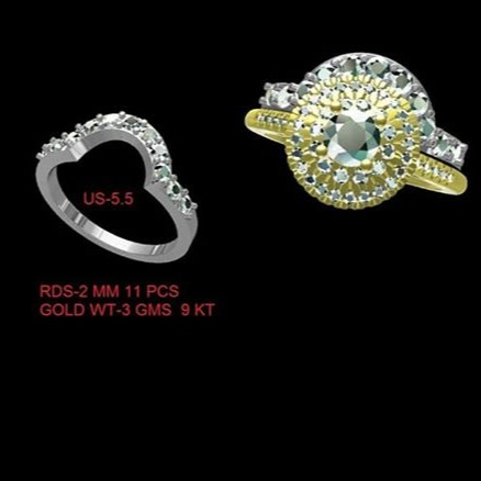 CAD images of a Diamond Wedding Ring and Engagement Ring