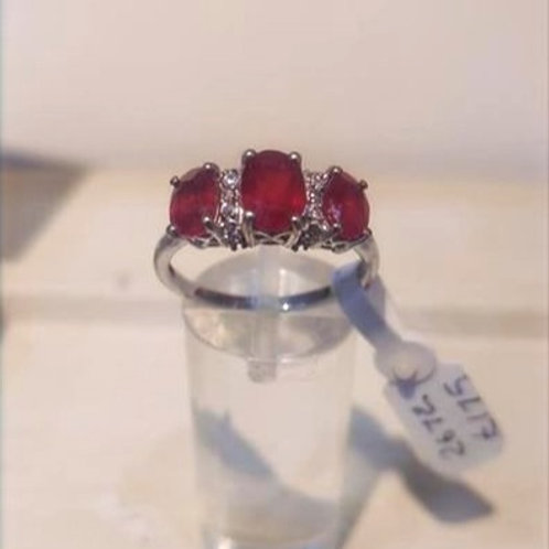 Ruby 1.10 carat trilogy ring in Sterling Silver