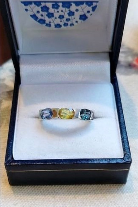 Multi Coloured Sapphire Ring set in Sterling Silver