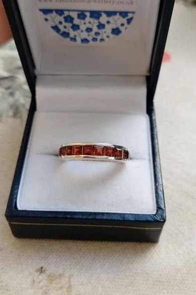 Garnet  Square Cut Channel Set Sterling Silver ring