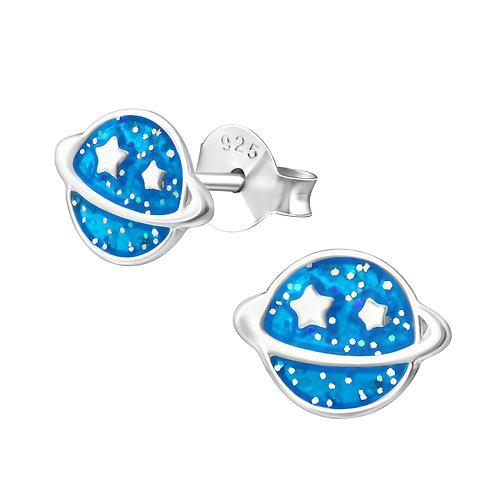 Sterling Silver Planet Glitter stud earrings 8 x 6 mm