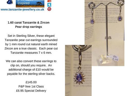 1.60 carat Tanzanite & Zircon Pear drop earrings