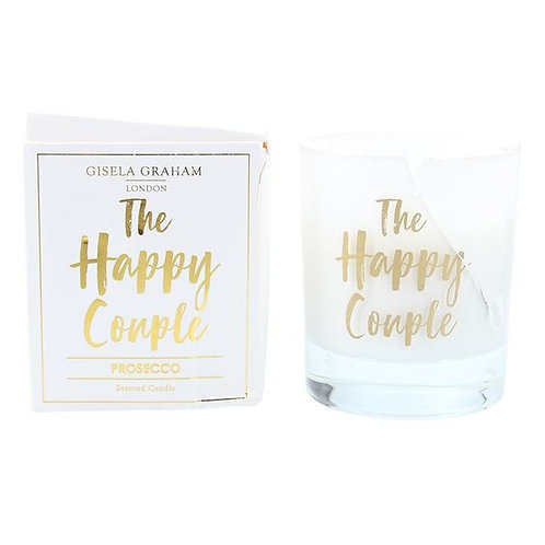 Gisela Graham Boxed Large Sentiment Candle - The Happy Couple