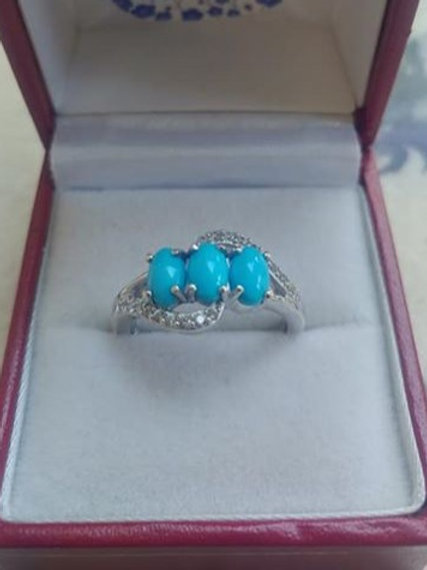 Turquoise (Sleeping Beauty) with Natural Zircon Sterling Silver