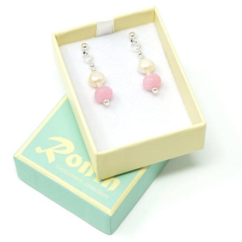 Ronin Gemstone Drop Earrings with Freshwater Pearls and Jade