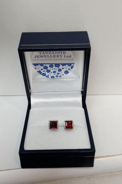 Garnet square cut bezel set Sterling Silver stud earrings