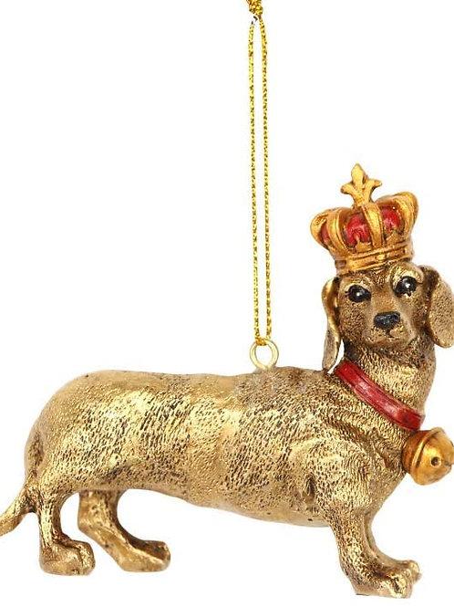 Gisela Graham Resin Gold Dachshund Hanging Christmas Decoration
