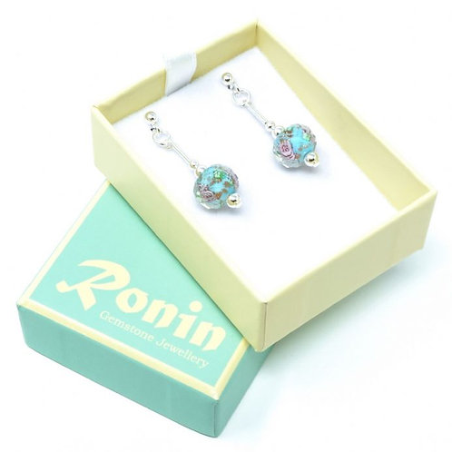Ronin Drop Earrings with Faceted Floral Glass Beads