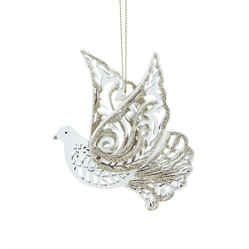 Gisela Graham Cream & Gold Fretwork Glitter Flying Dove Decorations