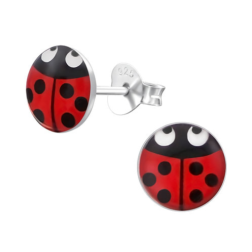 Sterling Silver Ladybird Ear Studs 7 x 7 mm