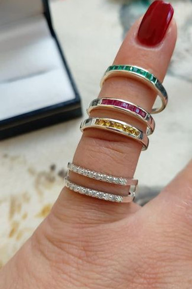 Diamond, Emerald, Ruby & Sapphire 3 in 1 Sterling Silver Ring