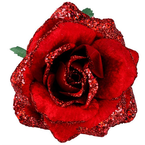 Gisela Graham Fabric Glitter Rose Clip