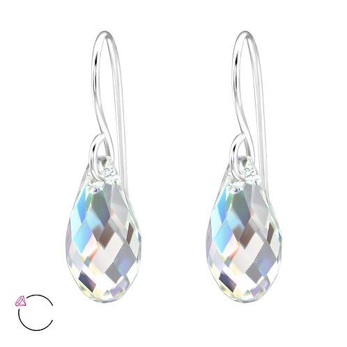 SWAROVSKI® Sterling Silver Teardrop earrings 13 x 8 mm AB