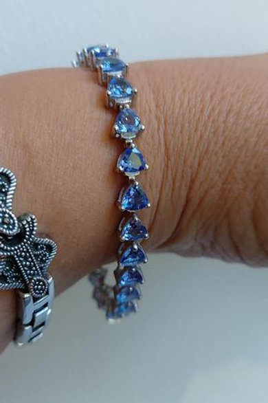 11 Carat Trillion Cut Tanzanite Sterling Silver Bracelet