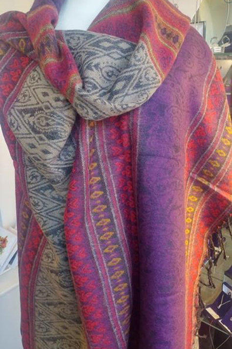 Fairtrade Reversible Nepal Shawl - Purple Red Stripe