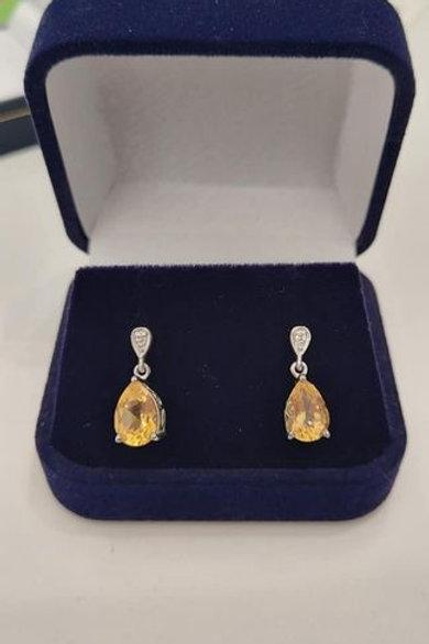 Citrine Pear Cut Drop Earrings in Sterling Silver