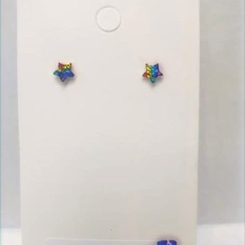 Sterling Silver Star Rainbow Studs earrings 5 mm