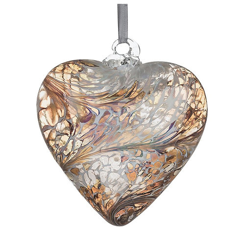 Gold Glass Friendship Glass Heart 8 cm with Gift Box