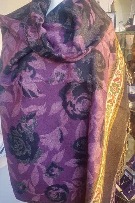 Fairtrade Reversible Nepal Shawl - Purple Black Rose