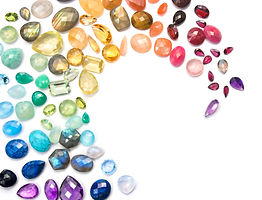 Rich variety of real colorful gemstones