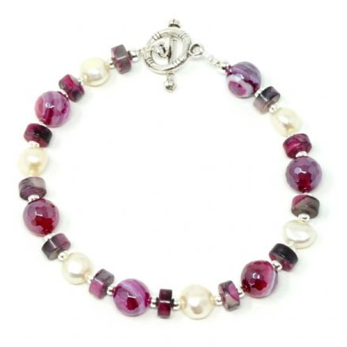 """Ronin Gemstone 8"""" Bracelet Brecon Agate and Freshwater Pearls"""