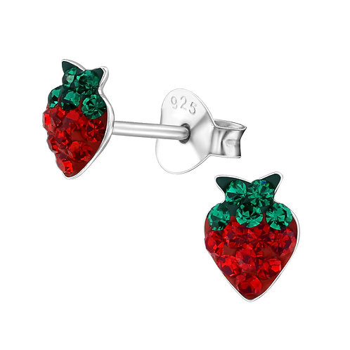Sterling Silver Strawberry crystal stud earrings 5 x 6 mm