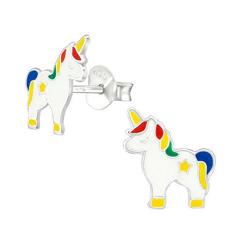 Sterling Silver Unicorn Studs earrings 10 x 9 mm