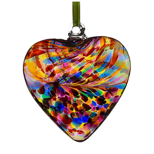 Multi-coloured Glass Friendship Glass Heart 8 cm with Gift Box