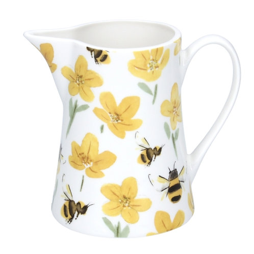 Gisela Graham Buttercups and Bees Bone China Jug Small
