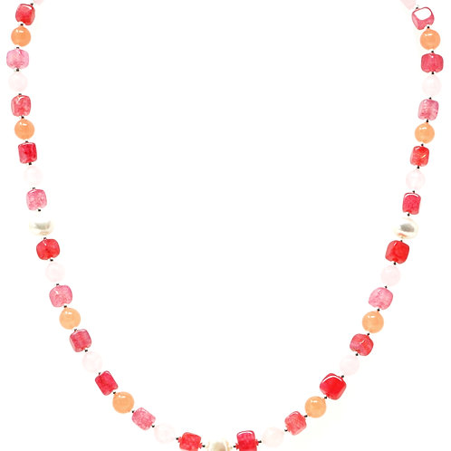 """Ronin Gemstone 18"""" Necklace Sorbet collection with Pearls & Rose Quartz"""