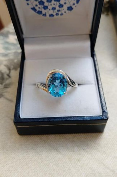 Blue Topaz Large Oval Swirl Solitaire Ring Set in Sterling Silver