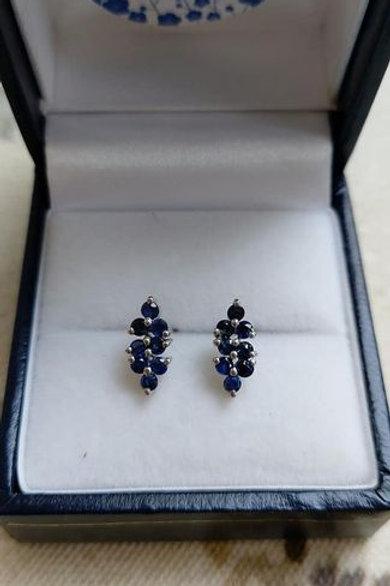 Blue Sapphire stud earrings in Sterling Silver