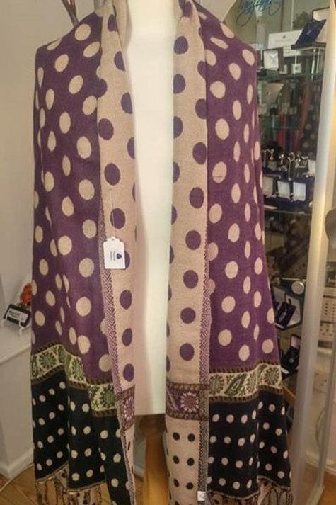Fairtrade Reversible Nepal Shawl - Purple dotty