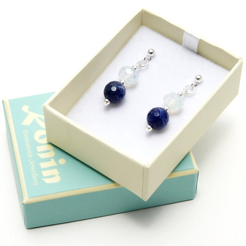 Ronin Gemstone Drop Earrings Sailboat with Sodalite & Faceted Glass Beads